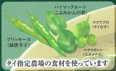 ヤマモリ タイカレーグリーン の食材
