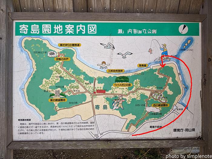 寄島町の三郎島のマップ